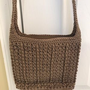 THE SAK Hobo Shoulder Bag Crochet Weave BROWN